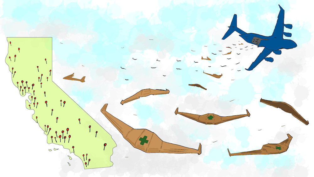 a cartoon illustration of the drones delivering medical help