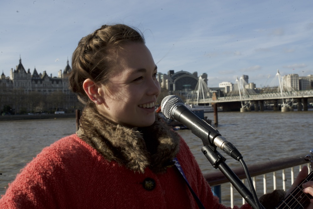 a photo of Emily busking on Southbank