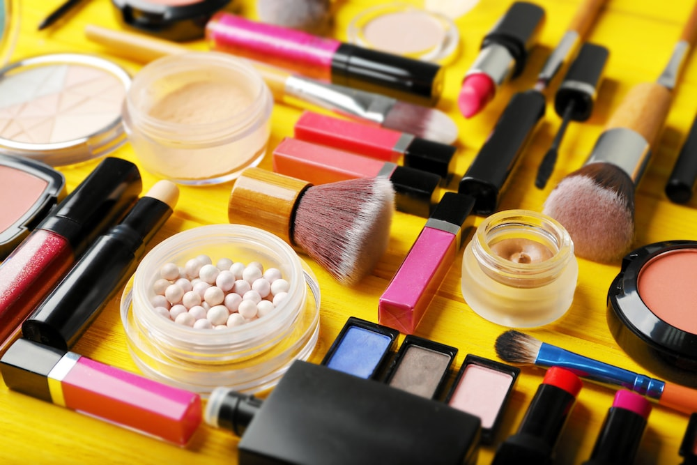 cosmetics on a table