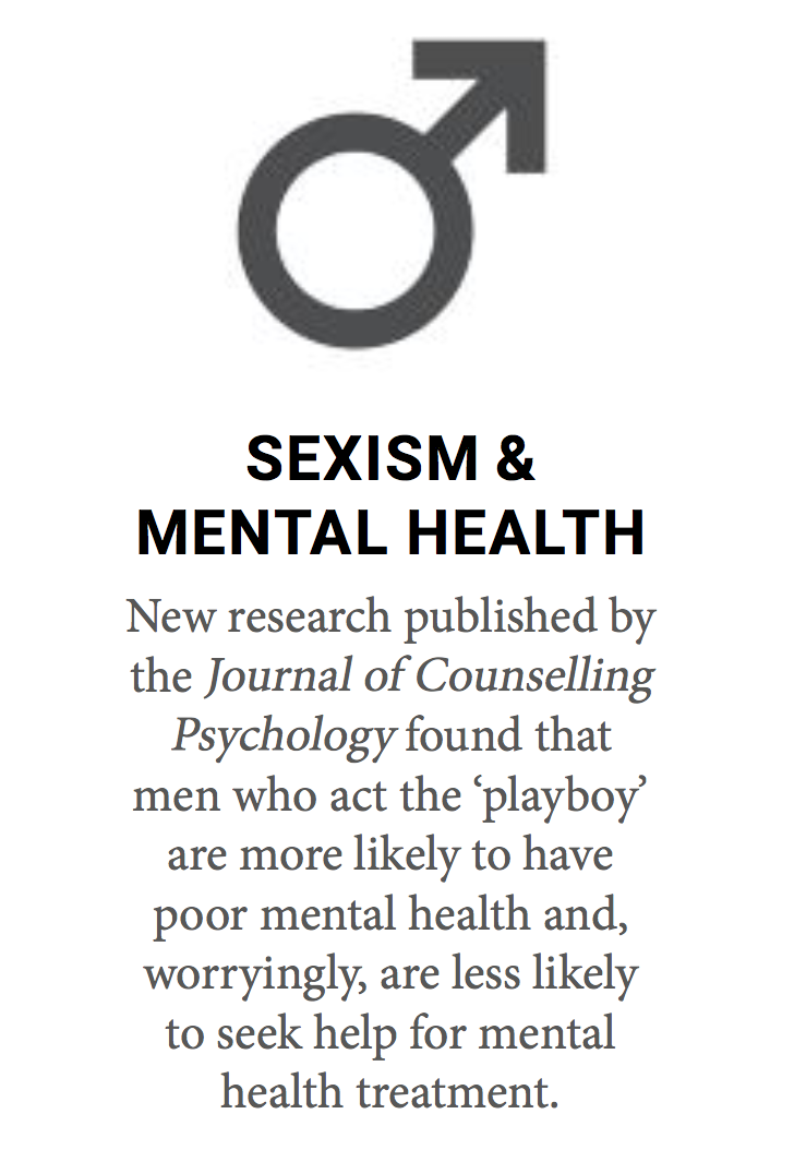 This is an image of a male gender symbol with a caption on how new research has found that men who 'act the playboy' are more likely to have poor mental health and are less likely to seek help for mental health treatment