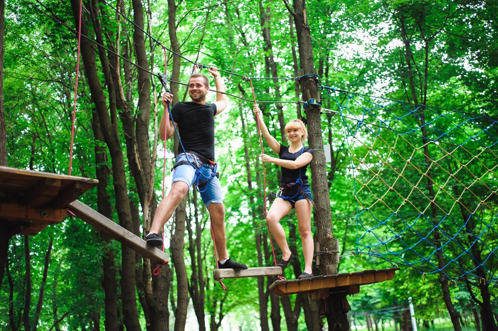 This is photo of people on a tree top obstacle course