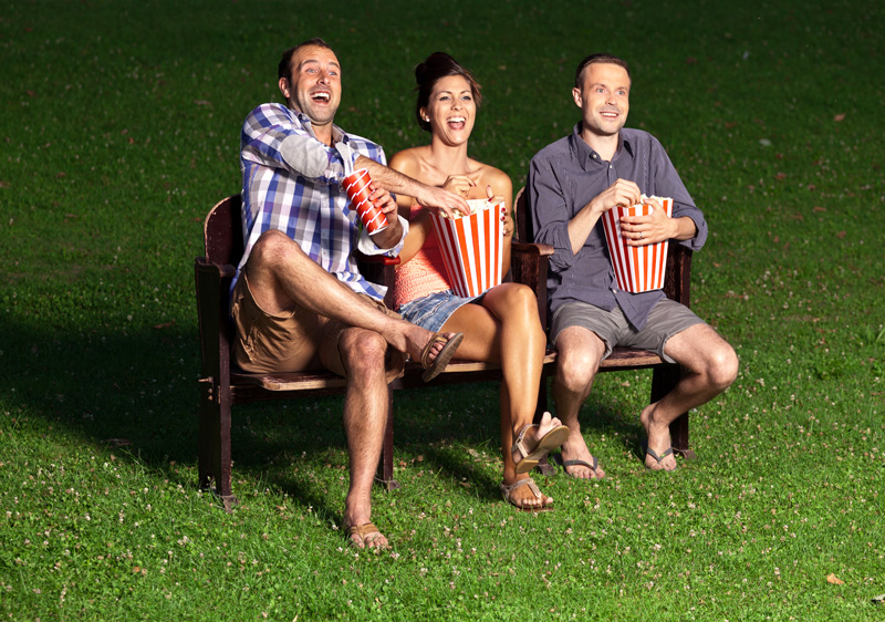 Cinema goers outdoors