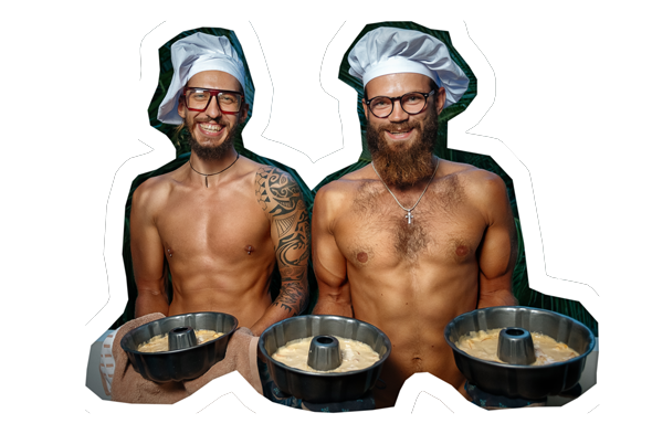 two topless men holding a plate of food