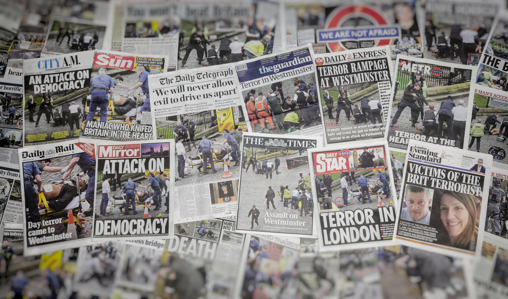This is a photo of newspaper headlines following the London terror attacks March 2017