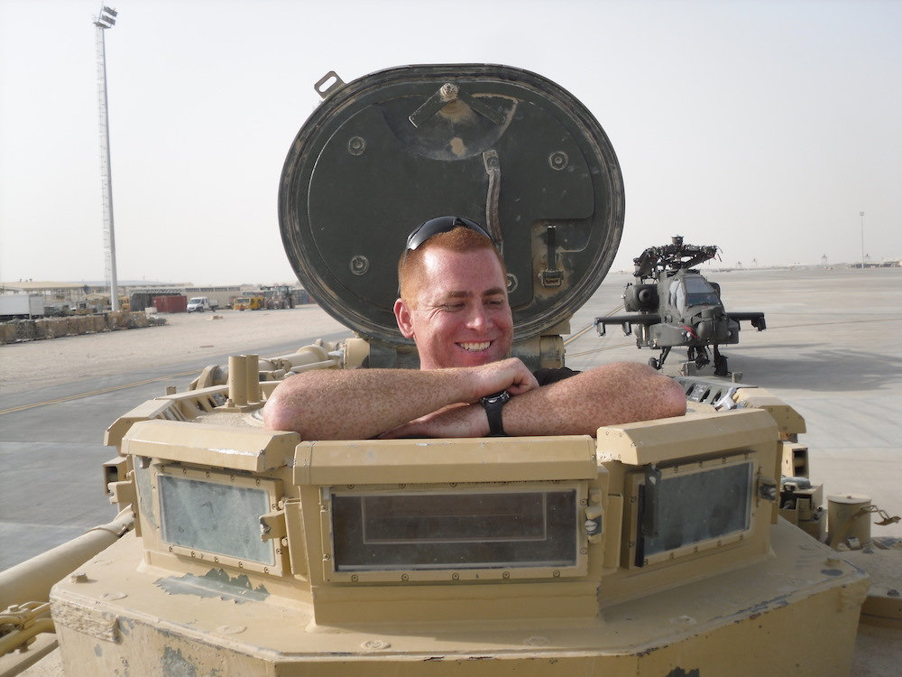 This is a photo of Carl in a tank