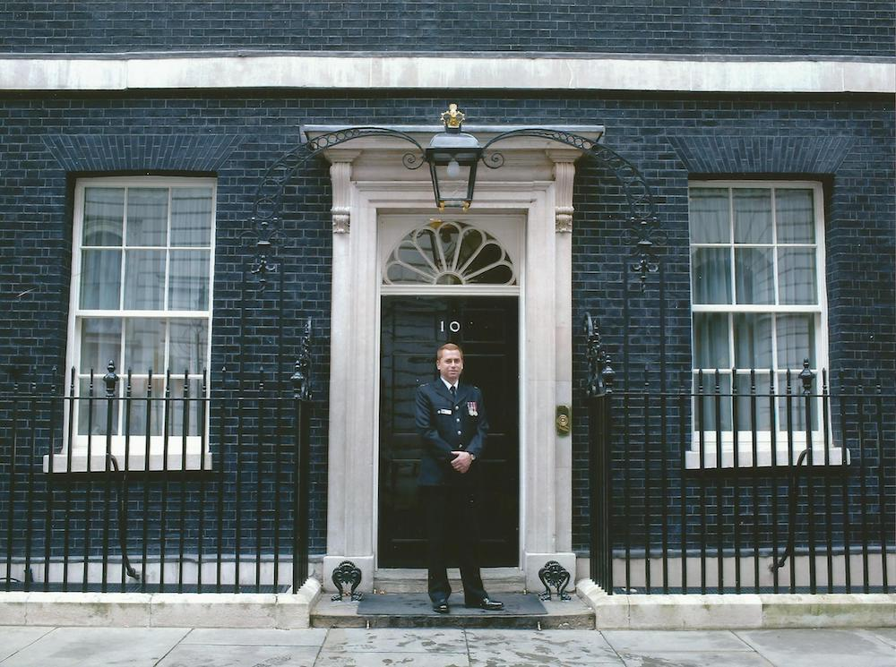 This is a photo of Carl receiving a bravery award at Downing Street in 2012