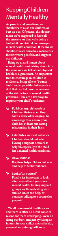 Box-out of advice for keeping children mentally healthy