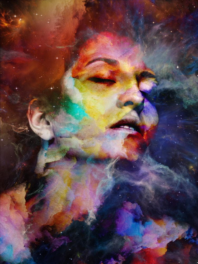 Image of a woman feeling at one with the universe in an surreal art illustration