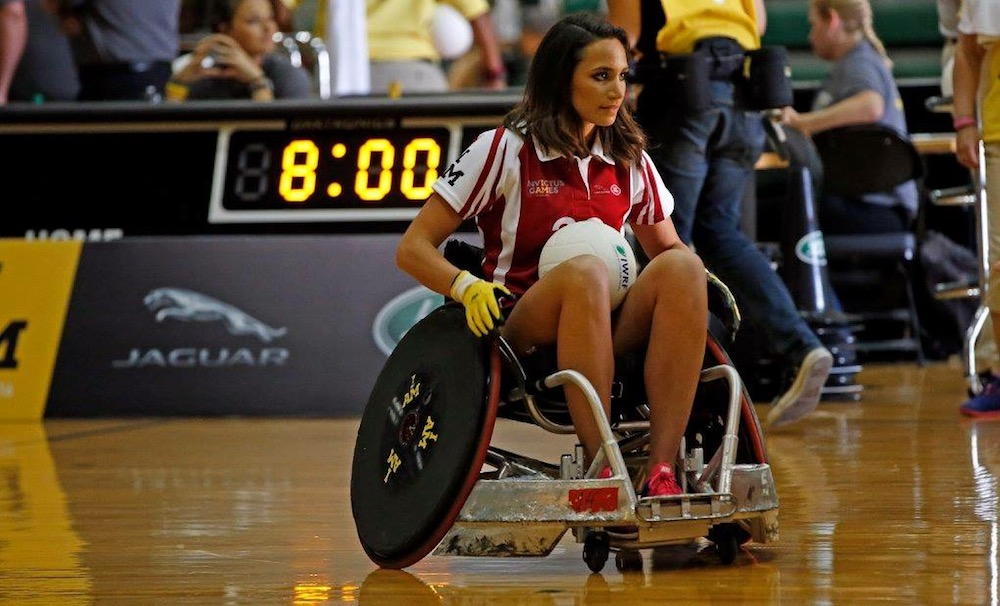 Laura playing wheelchair rugby