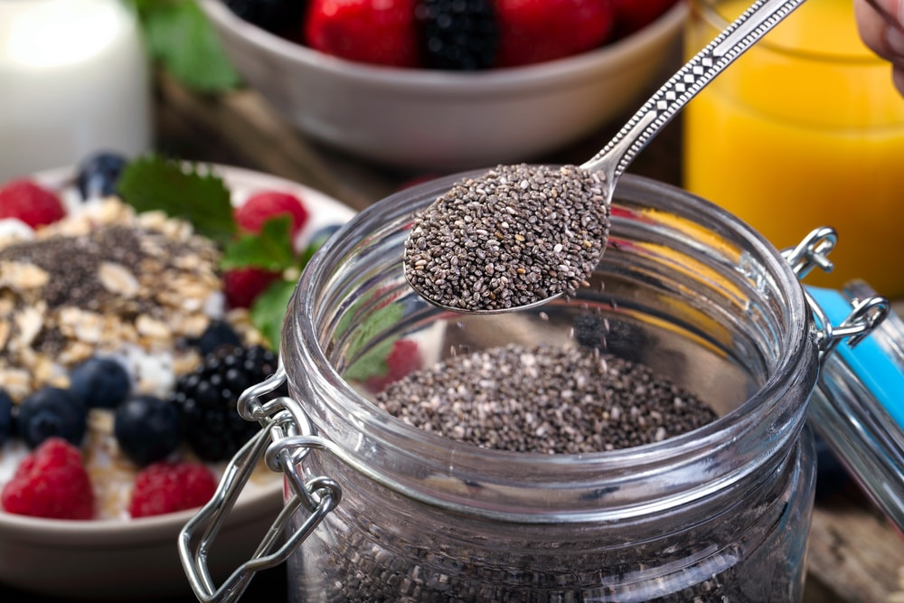 chia seeds in jar