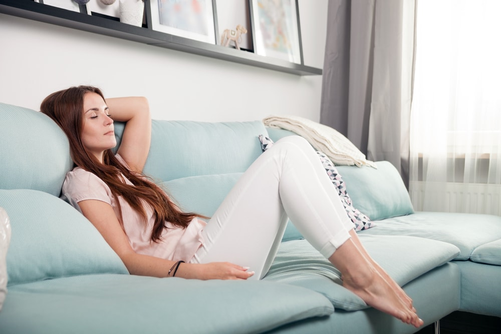 woman relaxing on the sofa