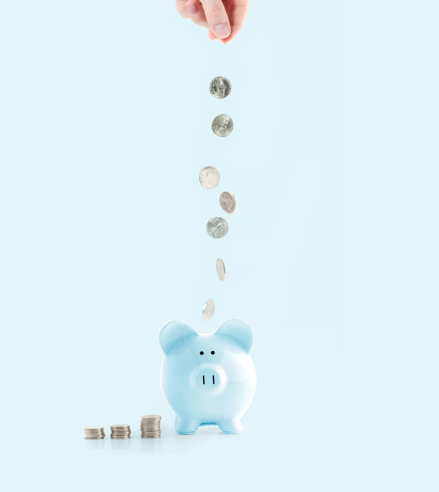coins in piggy bank