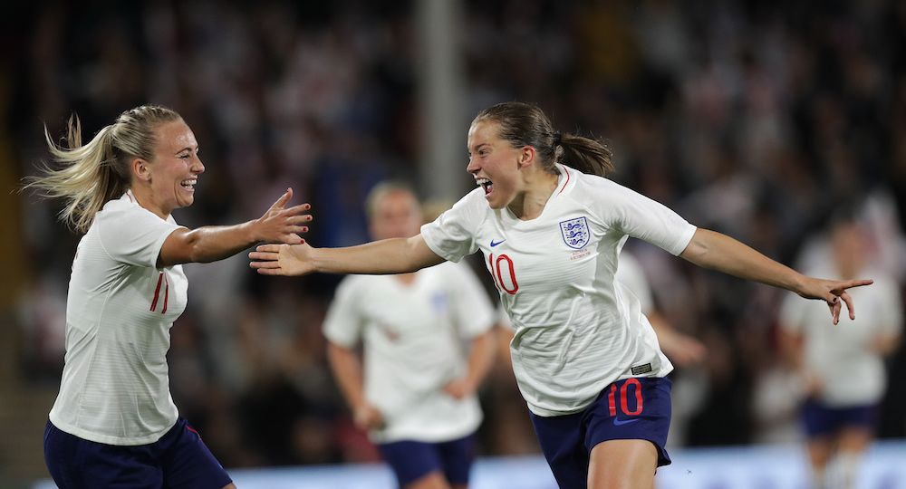 Fran Kirby celebrating during football match