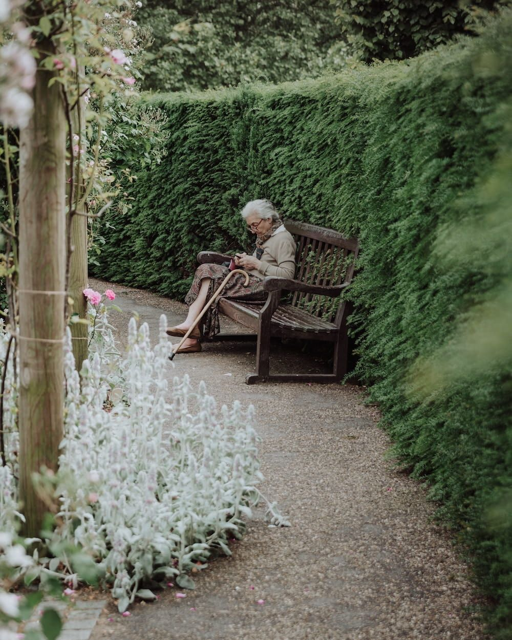 elderly woman sitting outdoors on a bench