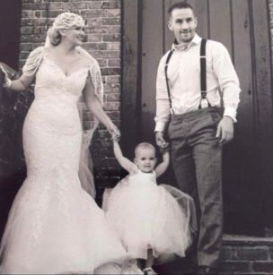 Katie and Adam on their wedding day