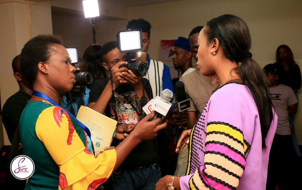 Anne in Nigeria, being interviewed for sickle cell awareness