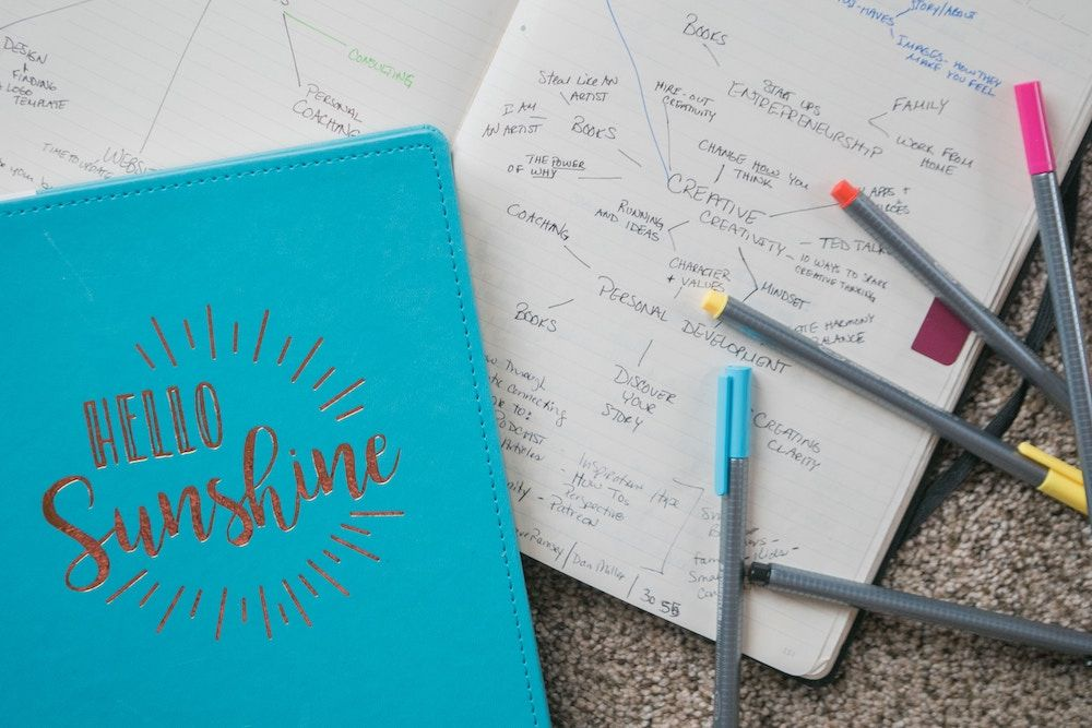 diary with notes on personal development