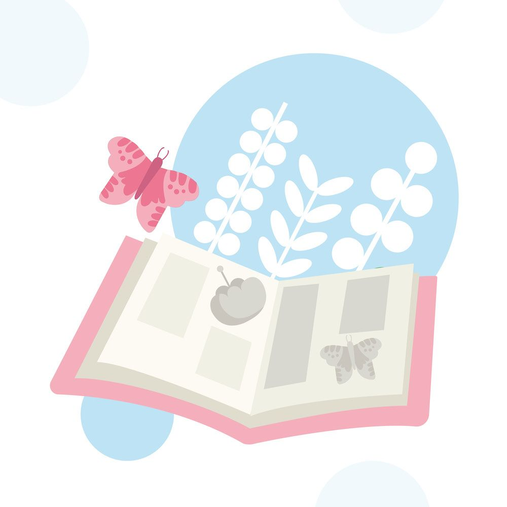 Illustration of an open book with a butterfly coming off the page