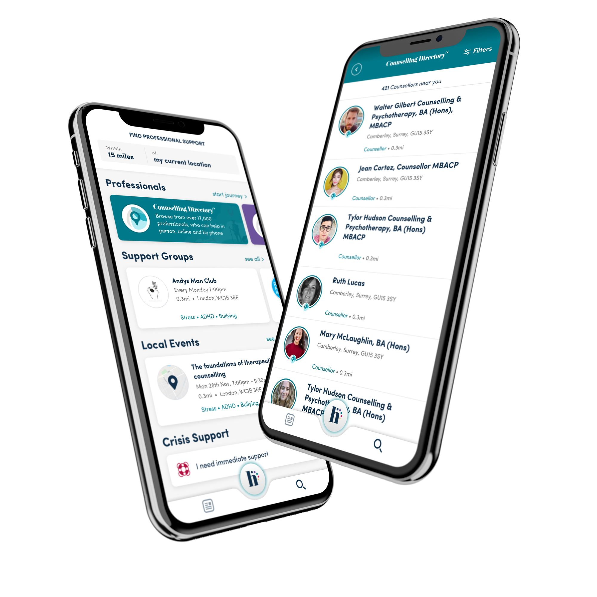 the connect screen of Happiful app shows the types of help from counselling to complementary therapies