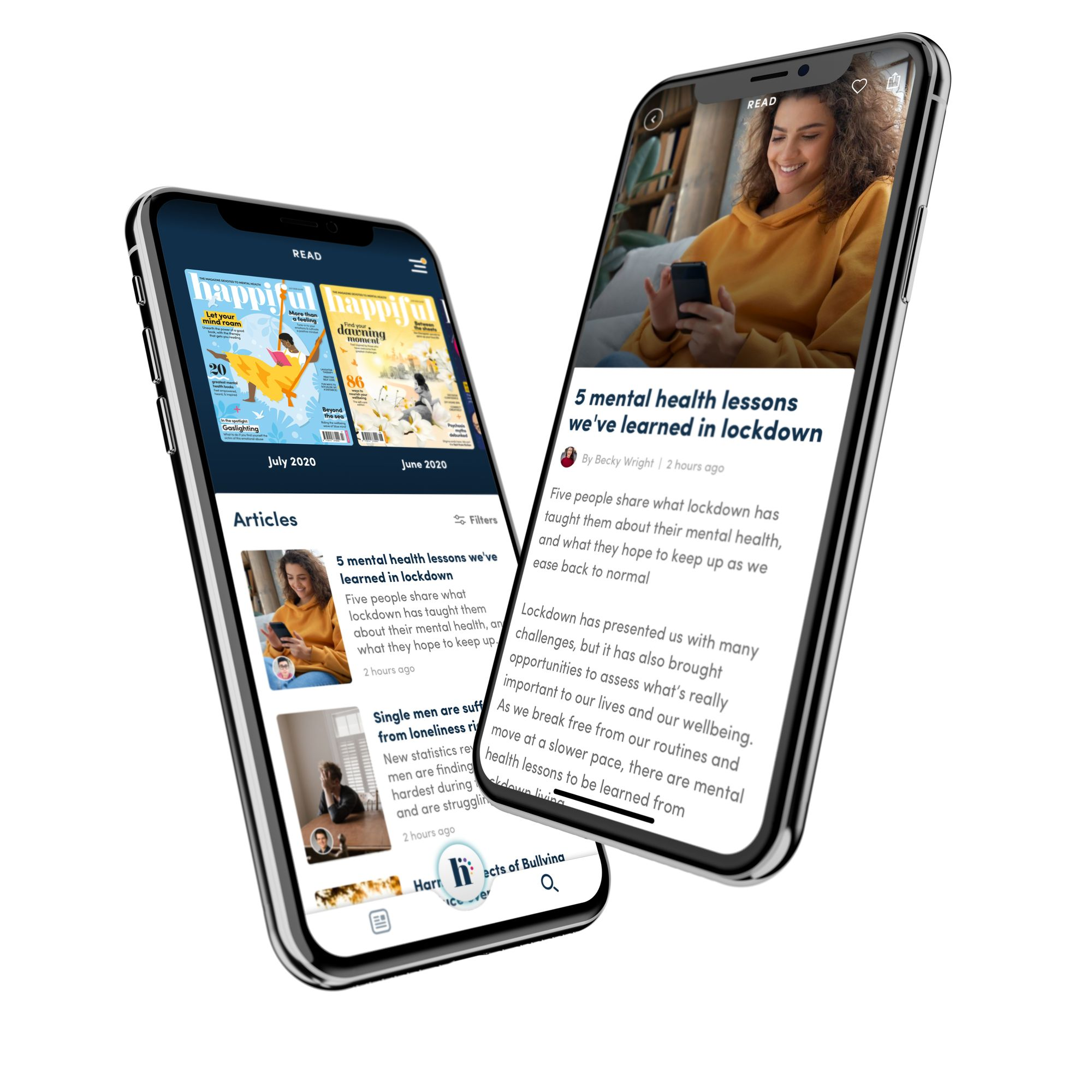 two screens with Happiful on, showing the magazine and article reader