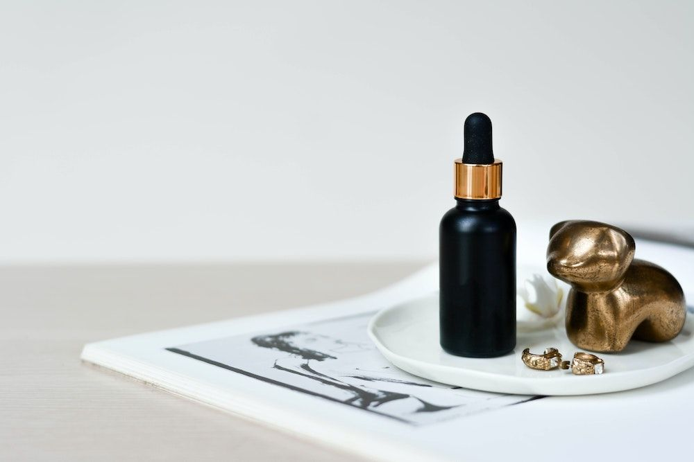 black serum bottle