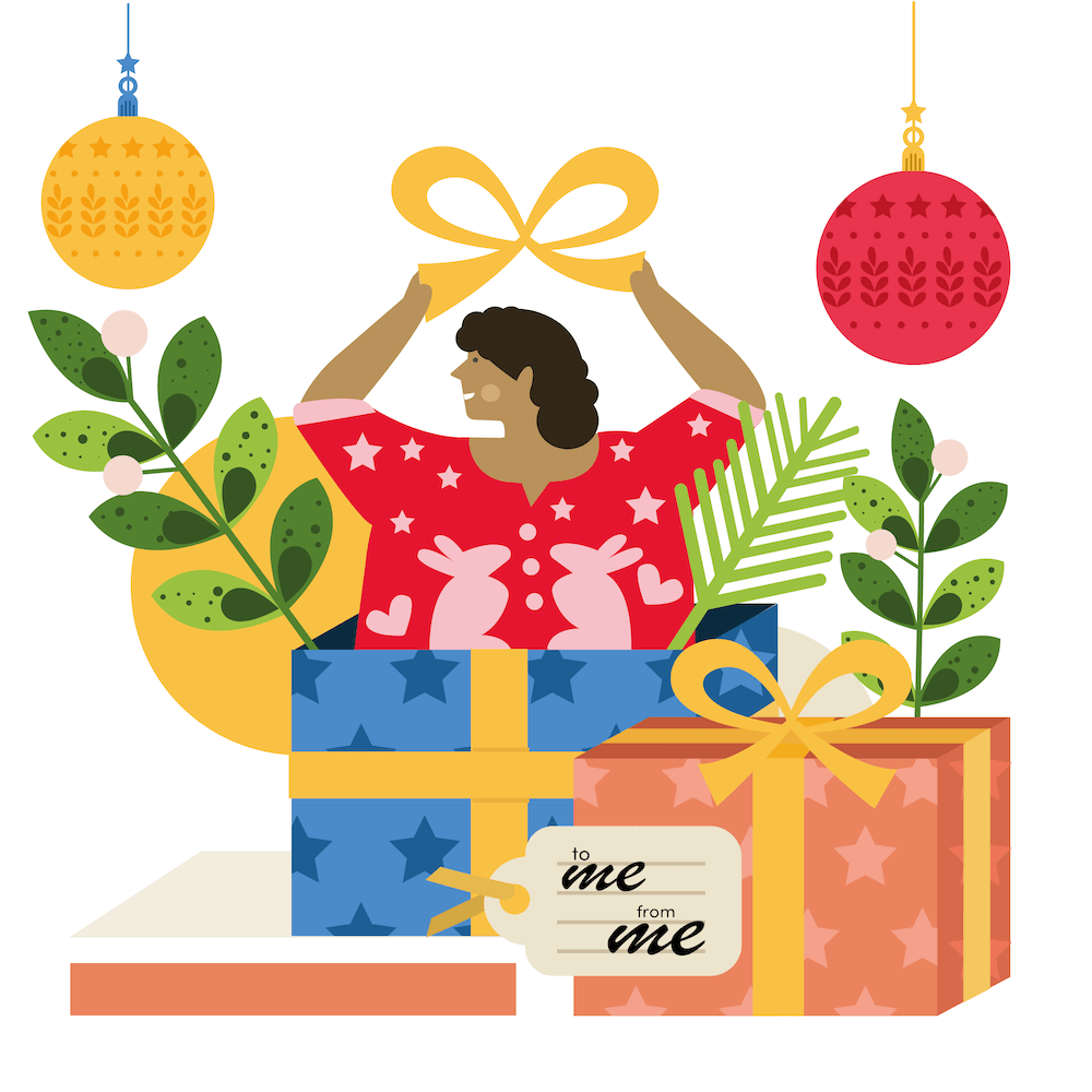 Illustration of person holding present