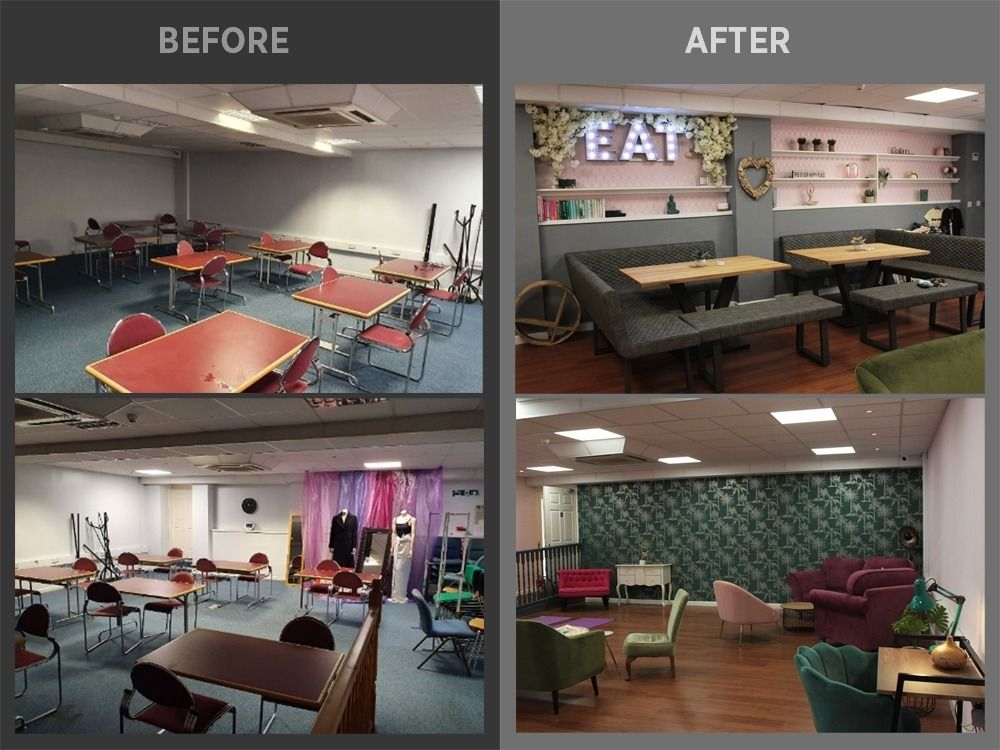before and after shots of the renovation